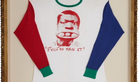 "Framed collectible vintage Rolling Stones ""Exile on Main St."" baseball shirt,1972."