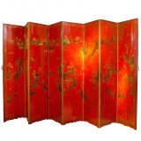 HERO CONSUME CHINOISERIE RED LACQUER AND GOLD SCREEN (20th C)