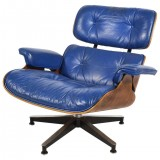HERO CONSUME EAMES 670 CHAIR WITH COBALT BLUE LEATHER BY HERMAN MILLER (c1960s)