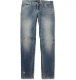 HERO CONSUME DOLCE AND GABBANA GOLD FIT DISTRESSED JEANS