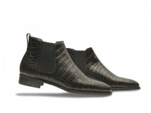 HERO CONSUME JOHN LOBB TUDOR IV BOOTS IN BLACK GLAZED CROCODILE