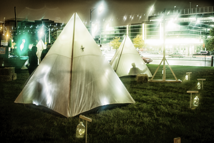 Illuminated tent installation for DLECTRICITY 2012. Photography David Lewinski. Image courtesy DLECTRICITY