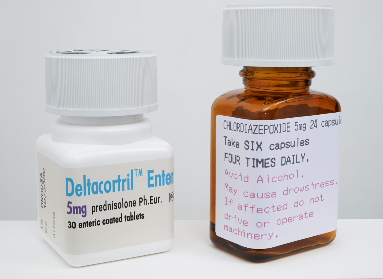 Damien Hirst 'Deltacortril Enteric' and 'Chlordiazepoxide' 2014. Courtesy the artist and Paul Stolper Gallery