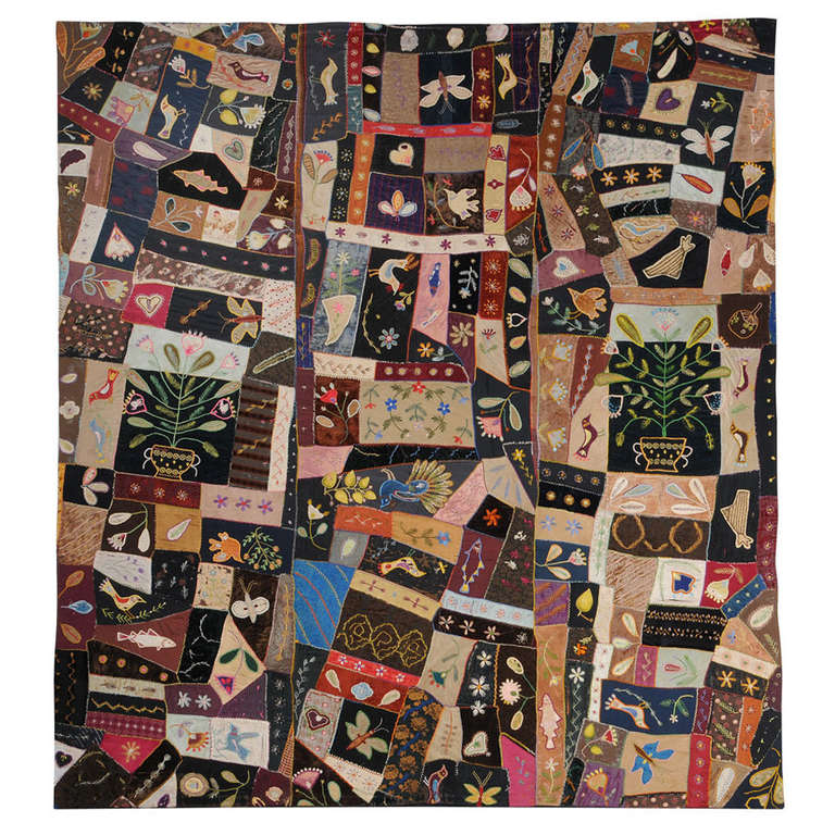 HERO CONSUME A MASTERPIECE CRAZY QUILT 1870-1890