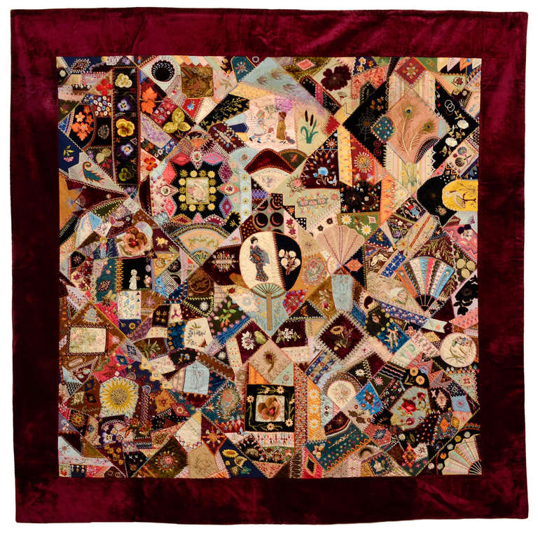 HERO CONSUME EXTRAORDINARY VICTORIAN CRAZY QUILT 1890s