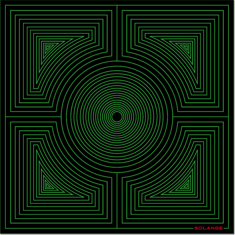 HERO CONSUME SOLANGE AZAGURY-PATRIDGE SQUARE GREEN HYPNOTIC RUG