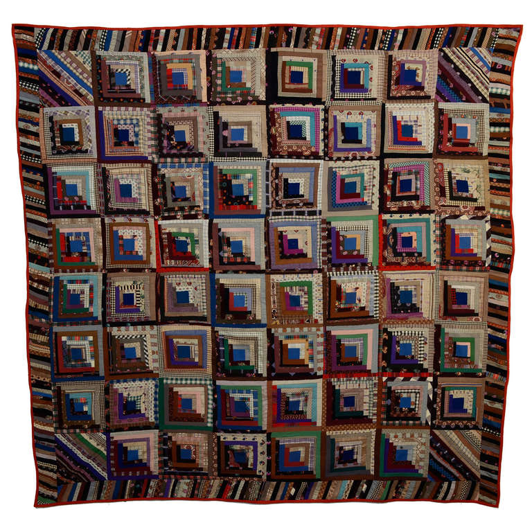 HERO CONSUME STRAIGH FURROWS LOG CABIN QUILT 1870s