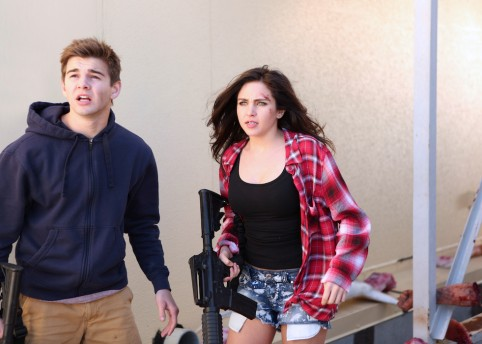 SHARKNADO 3: OH HELL NO! Pictured: (l-r) Jack Griffo as Billy, Ryan Newman as Claudia Shepard. Photo courtesy of Raymond Liu/Syfy.