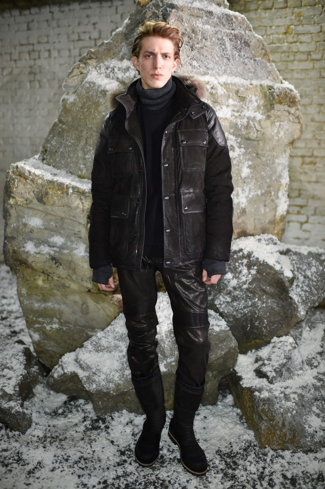 Model showcasing Belstaff 'Heading North' Winter 2016 Menswear Collection