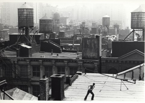 Babette Mangolte, b. 1941; Trisha Brown, 'Roof Piece' 1973, 53 Wooster Street to 381 Lafayette Street, New York City, 1973, printed 2003; photograph, gelatin silver print on paper; courtesy the artist and BROADWAY 1602, New York, NY; copyright © 1973 Babette Mangolte, all rights of reproduction reserved.