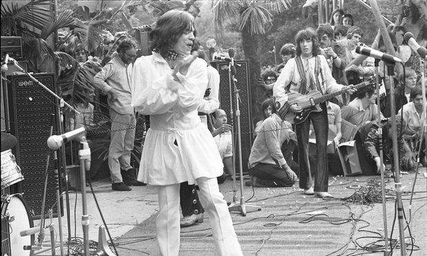 Mick Jagger wears Mr Fish at Hyde Park in 1969. Photograph- David Newell Smith for the Observer