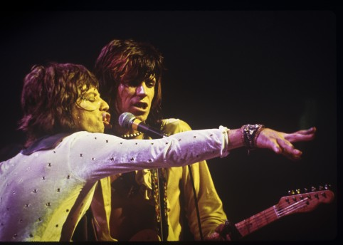 Mick Jagger & Keith Richards of The Rolling Stones on the STP tour, 1972 –Image by © Ethan Russell