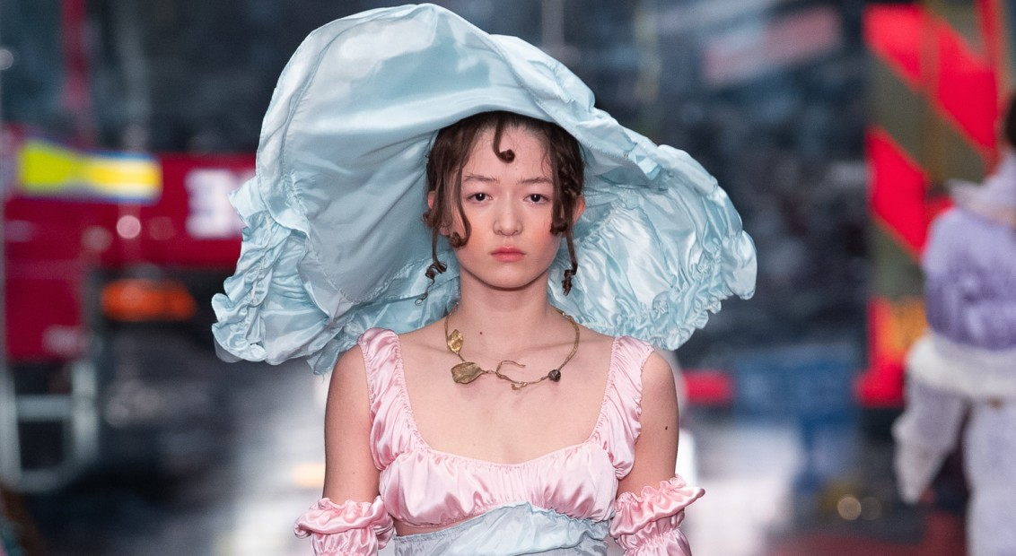 Lambeth High Street, London UK. 17th February 2019. Fashion East show their Autumn Winter 2019 designs at his catwalk show. © Chris Yates
