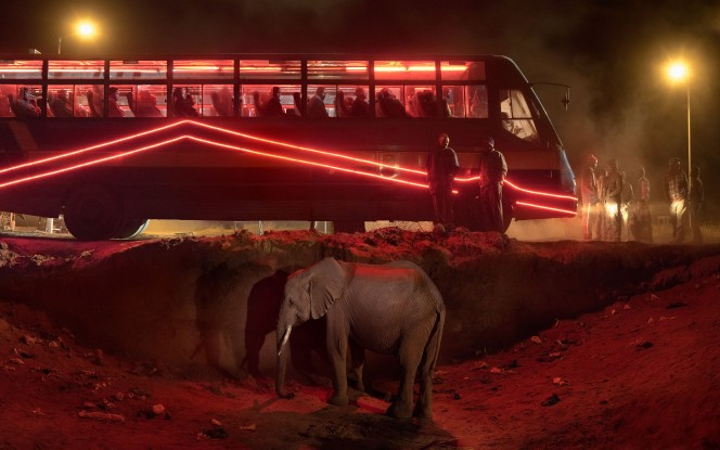 Nick Brandt, Bus Staion with Elephant & Red Bus, 2018, Courtesy Nick Brandt and Atlas Gallery
