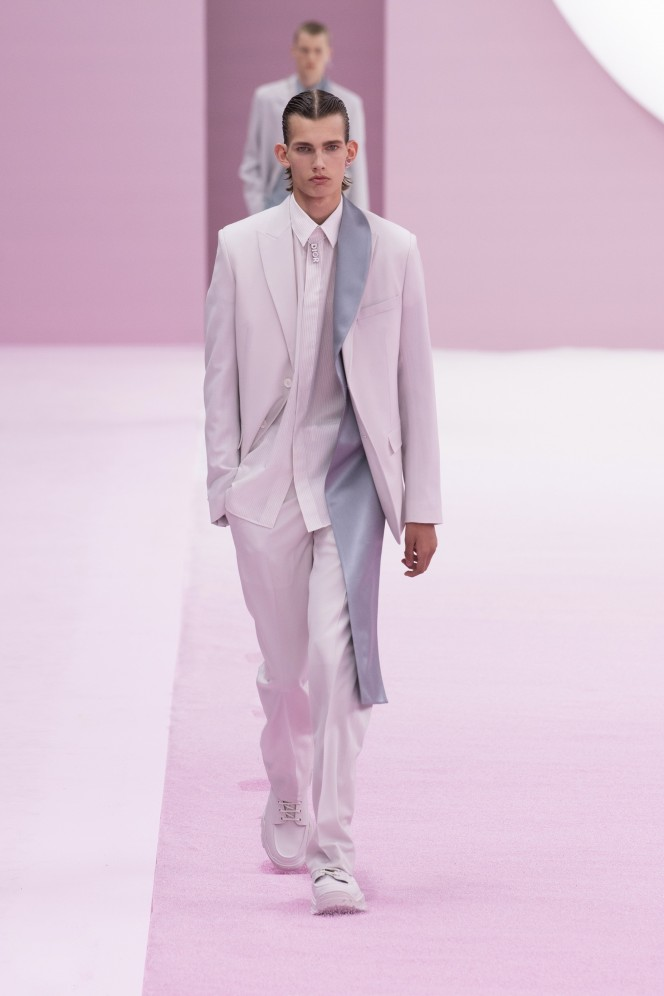 Model wears an outfit , as part of the men s wear summer 2020, men fashion week, Paris,  France, from the house of Dior