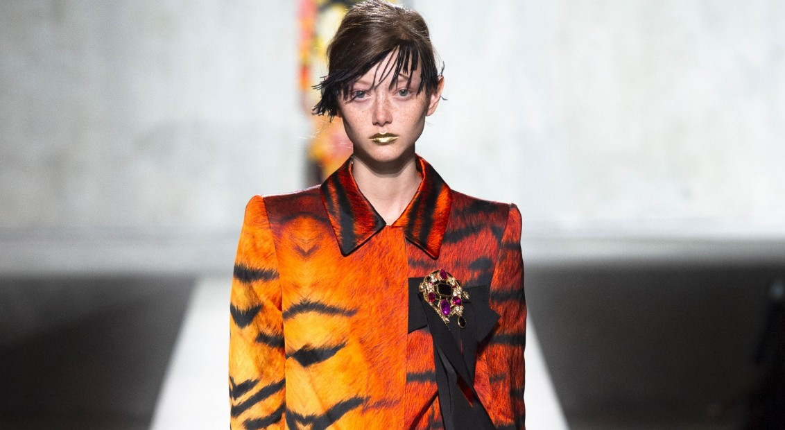 Model wears an outfit , as part of the pret a porter 2020, fashion week, Paris,  France, from the house of Dries Van Noten