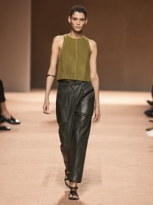 Model wears an outfit , as part of the pret a porter 2020, fashion week, Paris,  France, from the house of Hermes