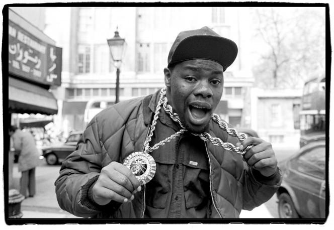 Biz Markie on Kensington High Street, London, UK on 6 April 1988
