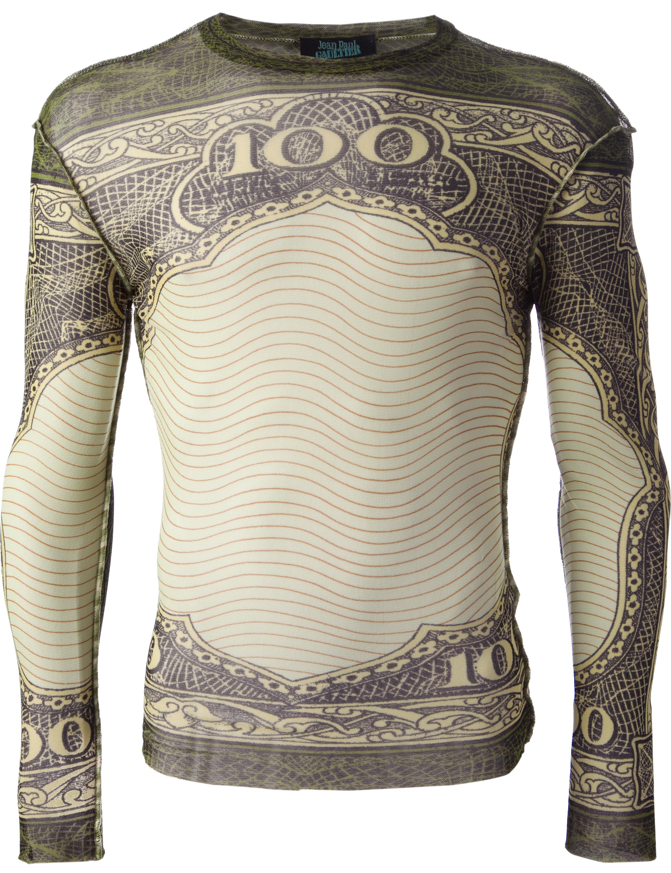 Jean Paul Gaultier dollar print mesh top from SS94 collection, La Brute et le Raffiné