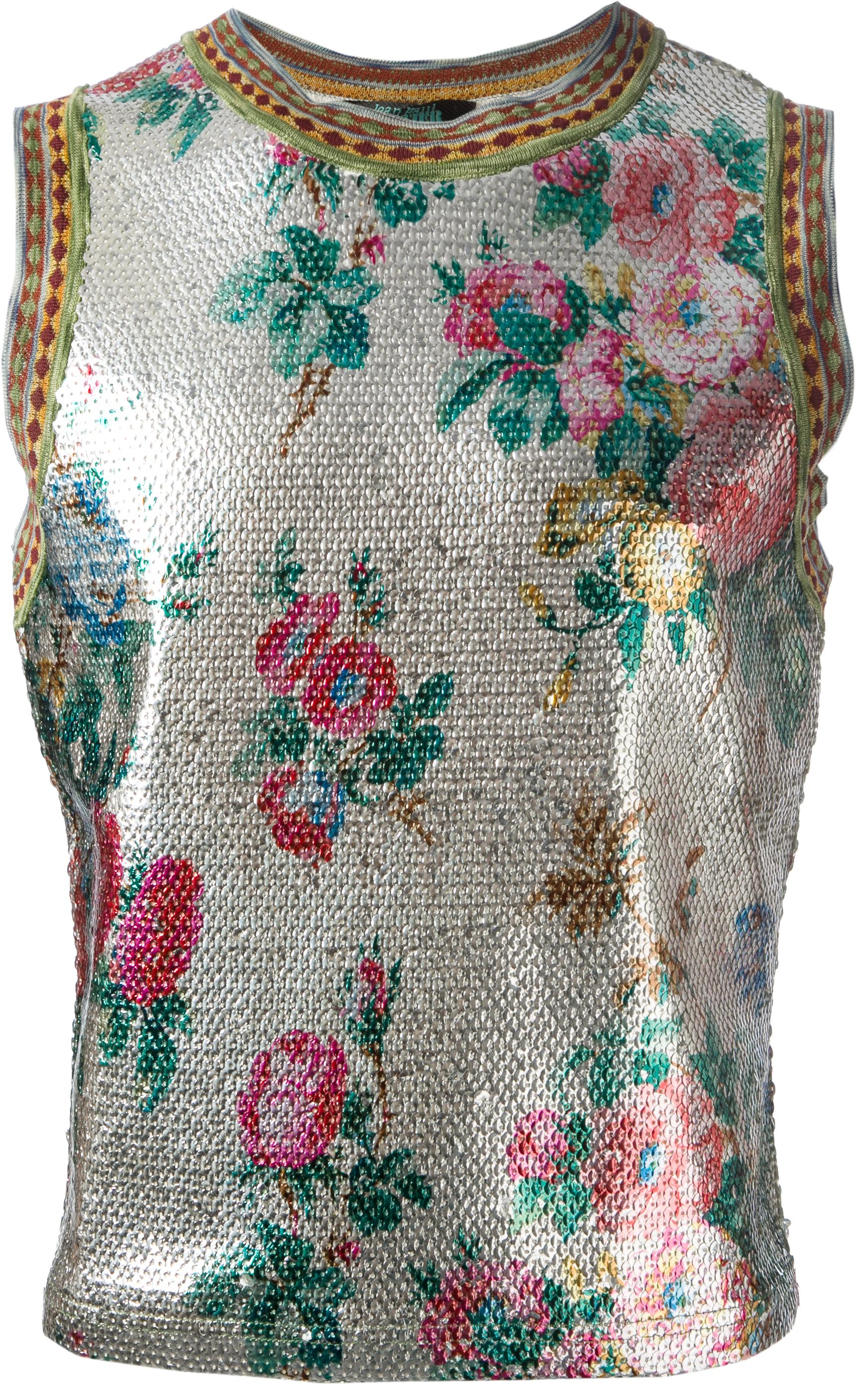 Jean Paul Gaultier sequin floral top from SS91 collection, Adam et Ève, Rastas d'Aujourd'hui