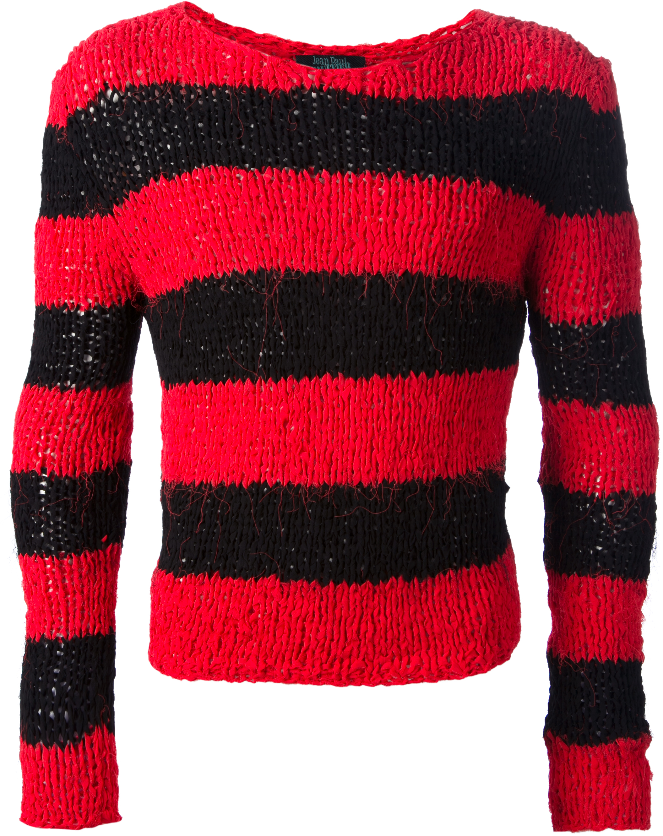 Jean Paul Gaultier red striped knit jumper from FW93 collection, Les Vikings