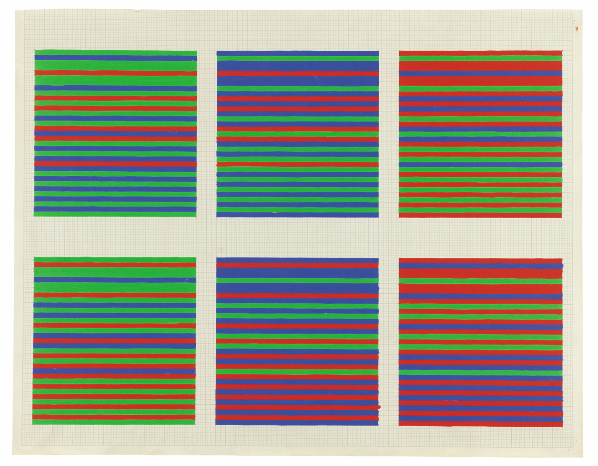 Bridget Riley, Untitled [Pacing Red, Blue and Green, 6 studies], 1973, courtesy of David Zwirner