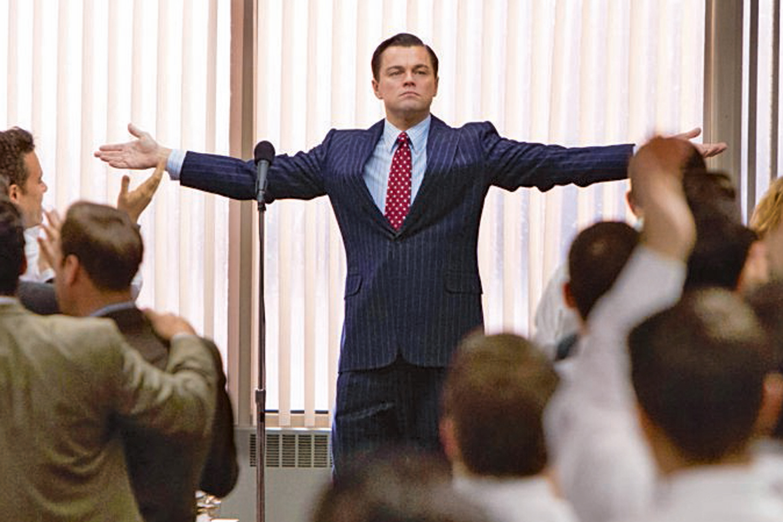 Leonardo Decaprio wearing Giorgio Armani in The Wolf of Wall Street (2013)