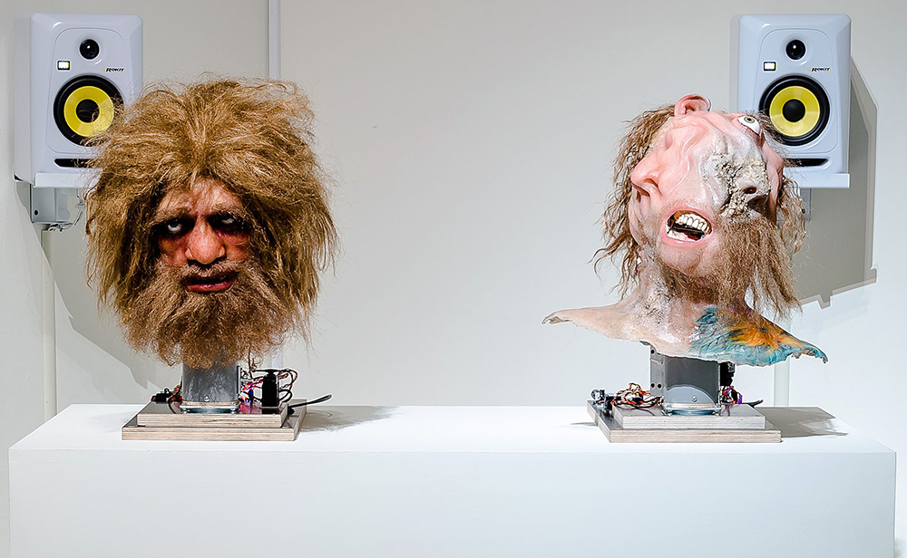 Nathaniel Mellors 'Neanderthal Container (Animatronic Prelapse)', animatronic sculpture with sound 2014. Courtesy of the artist, Matt's Gallery, London, Monitor, Rome & Stigter van Doesburg, Amsterdam and Taipei Fine Arts Museum