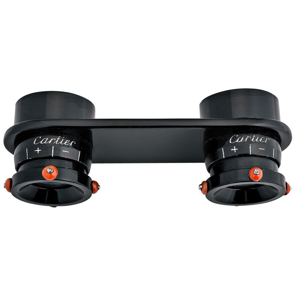 HERO CONSUME Cartier Paris Art Deco Black Lacquer Coral Diamond Binoculars