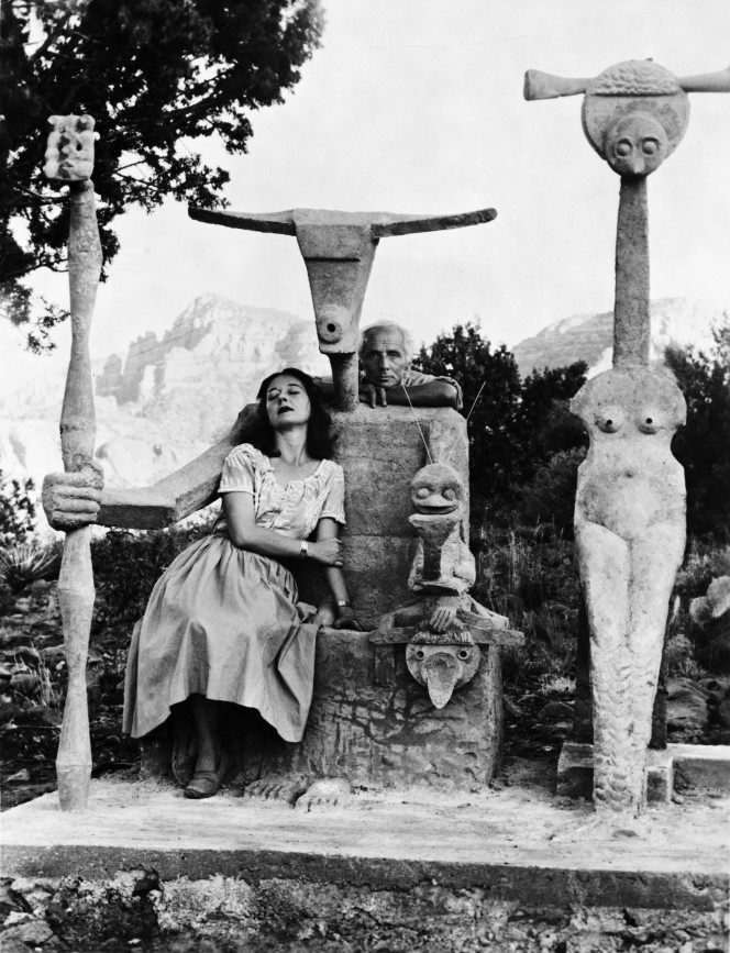 1. Dorothea Tanning and Max Ernst with his sculpture, Capricorn, 1947 © John Kasnetsis