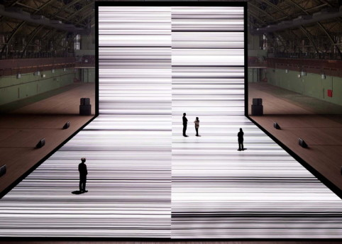 Ryoji Ikeda, the transfinite, 2011, mixed media, dimensions variable. Installation view.