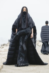 Model on the catwalk at the Rick Owens Fashion show in Venezia Lido, Fall Winter 2021, Ready To Wear Fashion Week